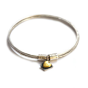 Mixed Metal Love Life Eternity Bangle - jewellery