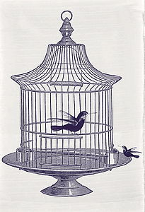 Bird And Cage Tea Towel