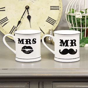 'Mr And Mrs' Moustache Mugs - wedding gifts
