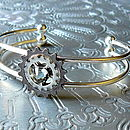 Silver Cogs Bangle: smoke grey