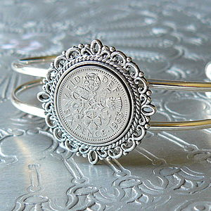 50th Or 60th Birthday Sixpence Bracelet - bracelets & bangles