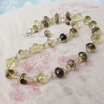 A Lemon Quartz And Sterling Silver Necklace