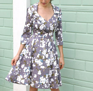 1950s Style Full Skirted Dress In Purple Candy Floral - dress refresh