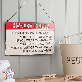 Rules Of The House Vintage Sign