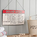 Thumb rules of the house vintage sign