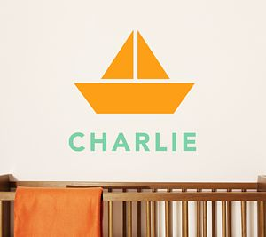 Children's Personalised Boat Wall Sticker - baby & child sale