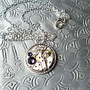 Watch Movement Necklace: purple stone