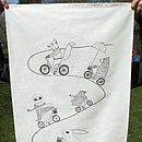 Organic Animals On An Adventure Tea Towel