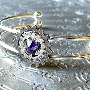 Silver Cogs Bangle: purple