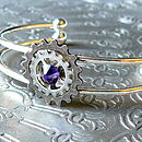 Silver Cogs Bangle: purple