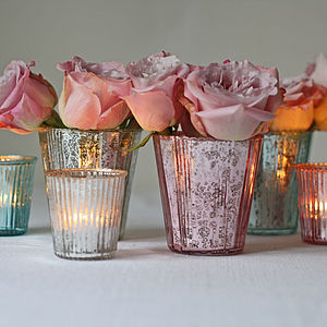 Ribbed Mercury Glass Vase Or Votive - lights & candles