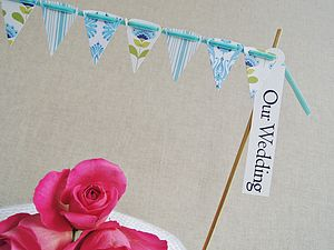 Tilda Cake Bunting With Greeting Label - cake decoration