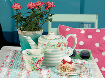 Candy Mint Ceramic Teapot