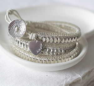 Personalised White Leather Wrap Bracelet - gifts under £50