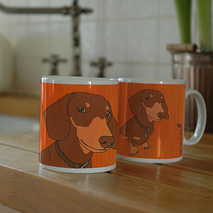 Set Of Two Personalised Pet Portrait Mugs