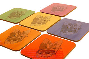 Set Of Six Personalised Pet Portrait Coasters - placemats & coasters
