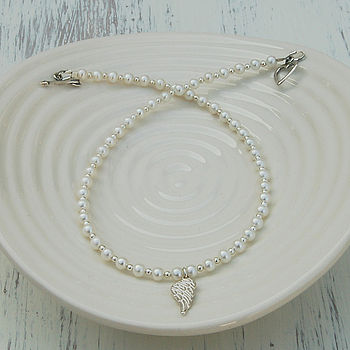 Girl's Angel Wing And Pearl Necklace
