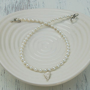 Girl's Angel Wing And Pearl Necklace - necklaces