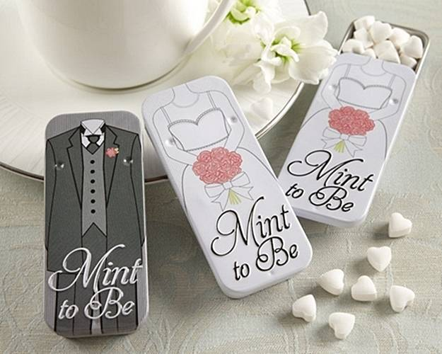 Mint To Be Bride And Groom Slide Tins