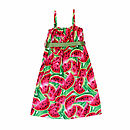 Girl's Watermelon Strapped Long Dress
