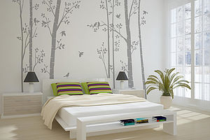 Leafy Trees Grey Wall Sticker - bedroom