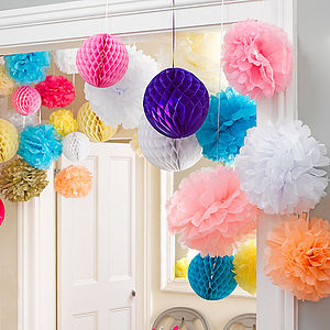 Pack Of Three Honeycomb Hanging Decorations - flowers & plants