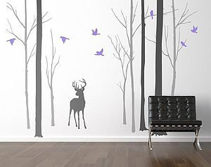 Deer In The Forest Two Tone Grey Wall Sticker - bedroom
