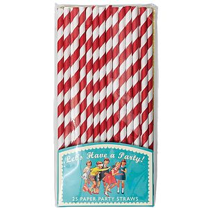 Pack Of 25 Retro Stripe Paper Straws - picnicware