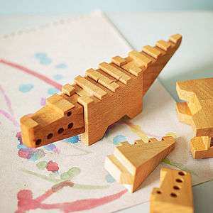 Wooden Crocodile Puzzle - traditional toys & games