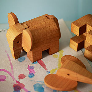 Wooden Elephant Puzzle - toys & games