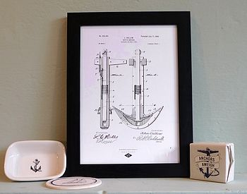 Ships anchor print with soap dish and other maritine products