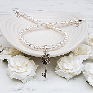 Freshwater Pearl And Silver Key Necklace - necklaces & pendants