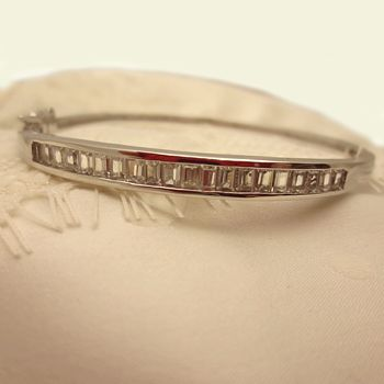 Silver And Cubic Zirconia Bangle