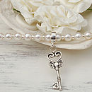 Freshwater Pearl And Silver Key Necklace