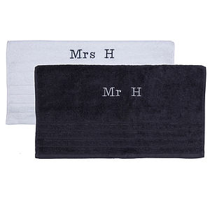 Personalised Mr & Mrs Embroidered Towels Duo - bed, bath & table linen
