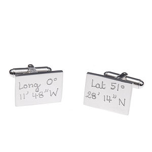 Personalised Silver Rectangular Coordinate Cufflinks - view all valentine's gifts