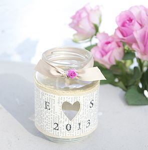 Personalised Recycled Jam Jar Candle Holders - spring styling
