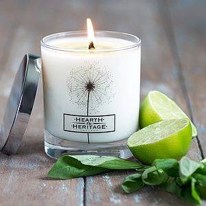 Basil And Lime Natural Wax Scented Candle - table decorations