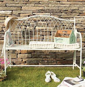 Cream Wrought Iron Hampton Garden Bench - garden furniture