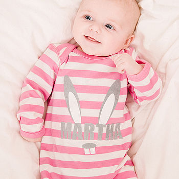 Personalised Girl's Bunny Romper