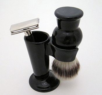 Shave brush and razor stand black