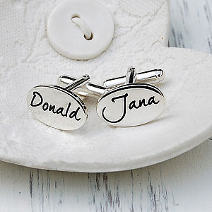 Personalised Silver Wedding Name Cufflinks