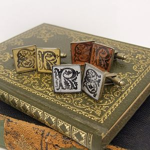 Illuminated Initial Antique Bronze Cufflinks