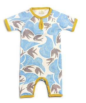 Swallow Print Summer Romper