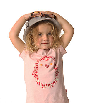 Organic Penguin T Shirt On Powder Pink