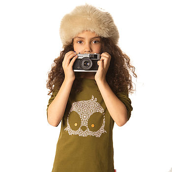 Organic Owl Long Sleeved T Shirt On Olive
