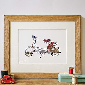 Vespa Scooter Hand Drawn Illustration