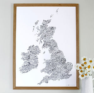 British Isles Word Map Print - prints for christmas