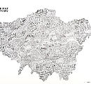 Word Map Of London / Blue Black