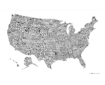 USA Word Map Print